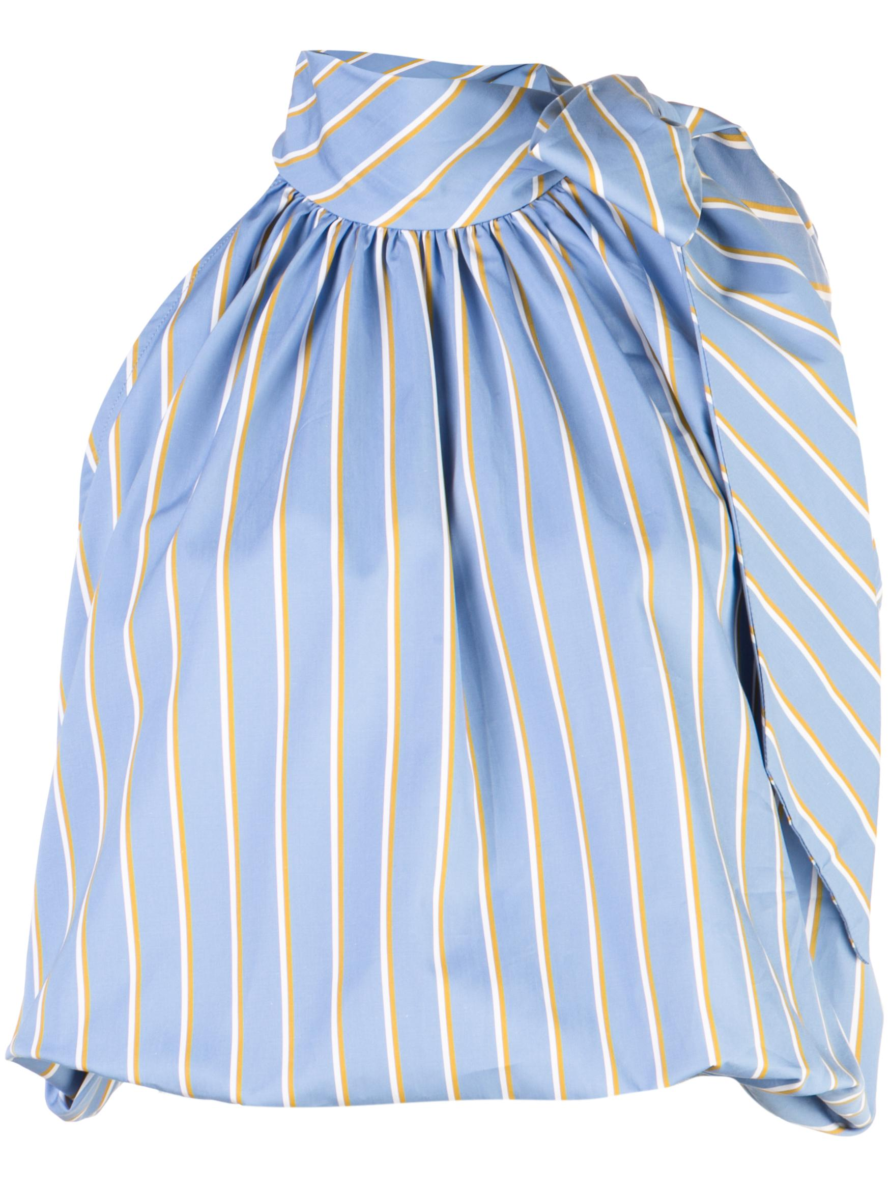 Sleeve Less Stripe Blouse With Neck Tie