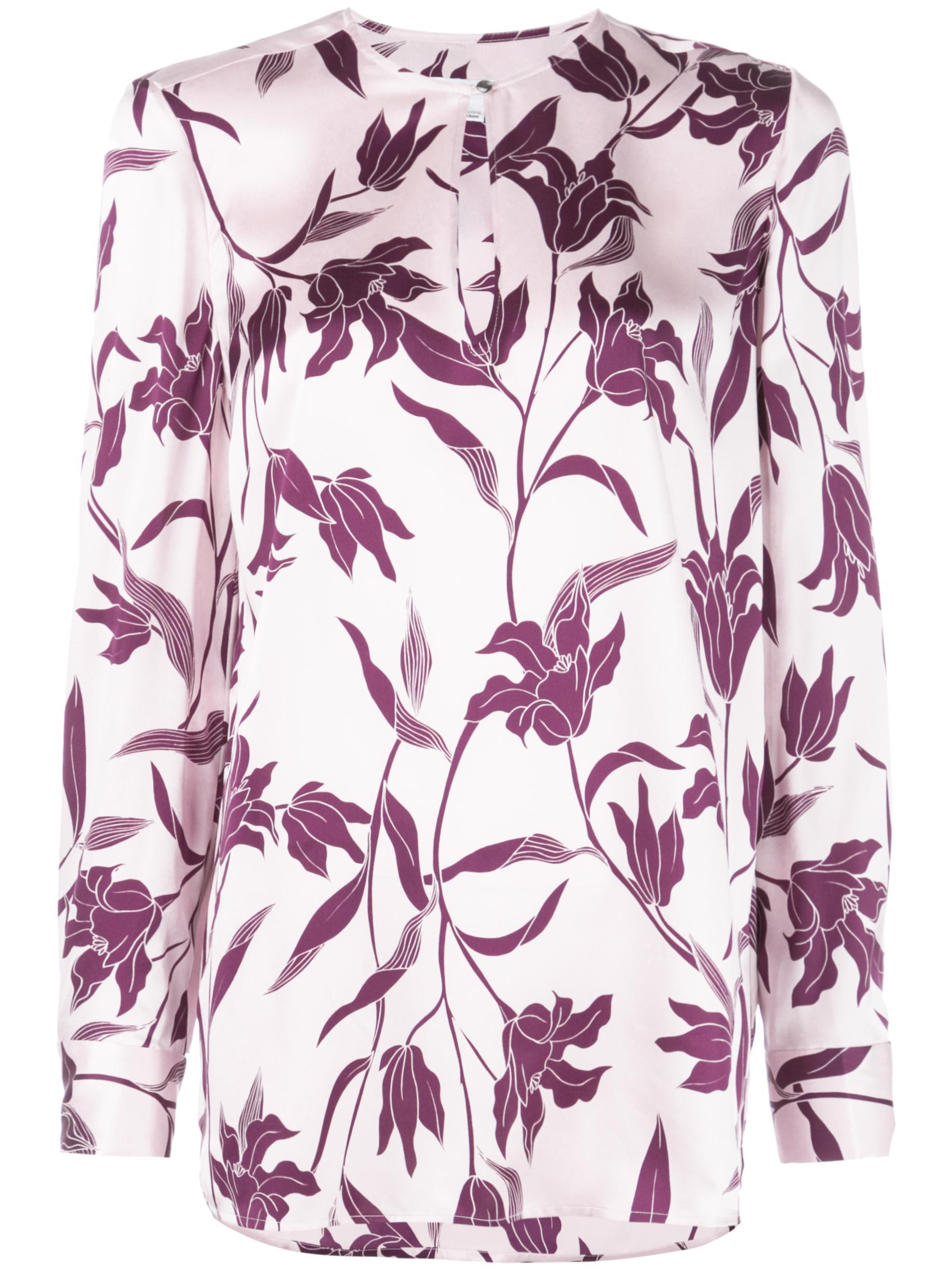 Delainey Floral Print Keyhole Blouse