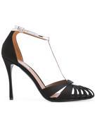 Satin Leather T- Strap 100mm Sandal