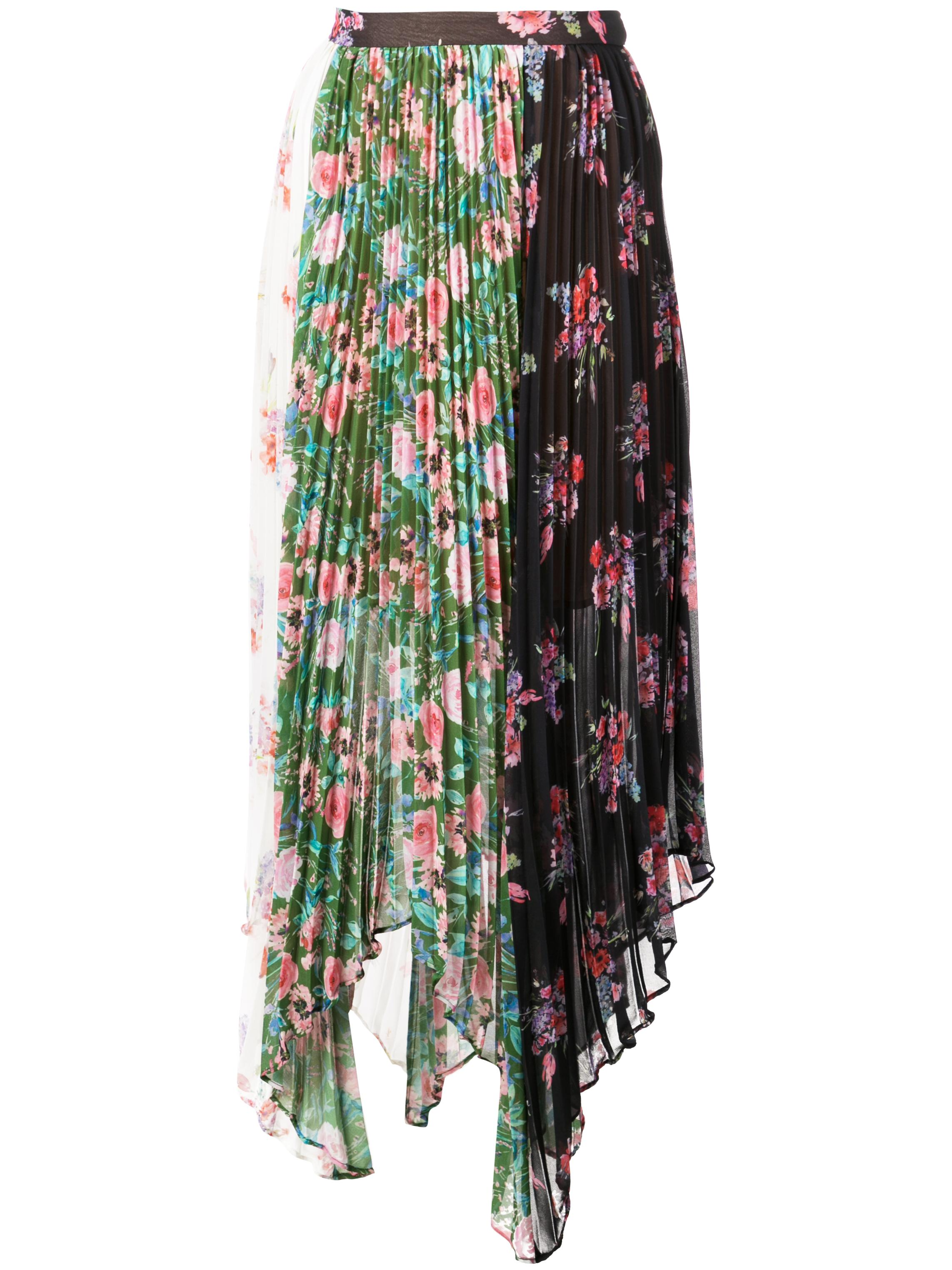 Mica Floral Mix Print Pleated Midi Skirt