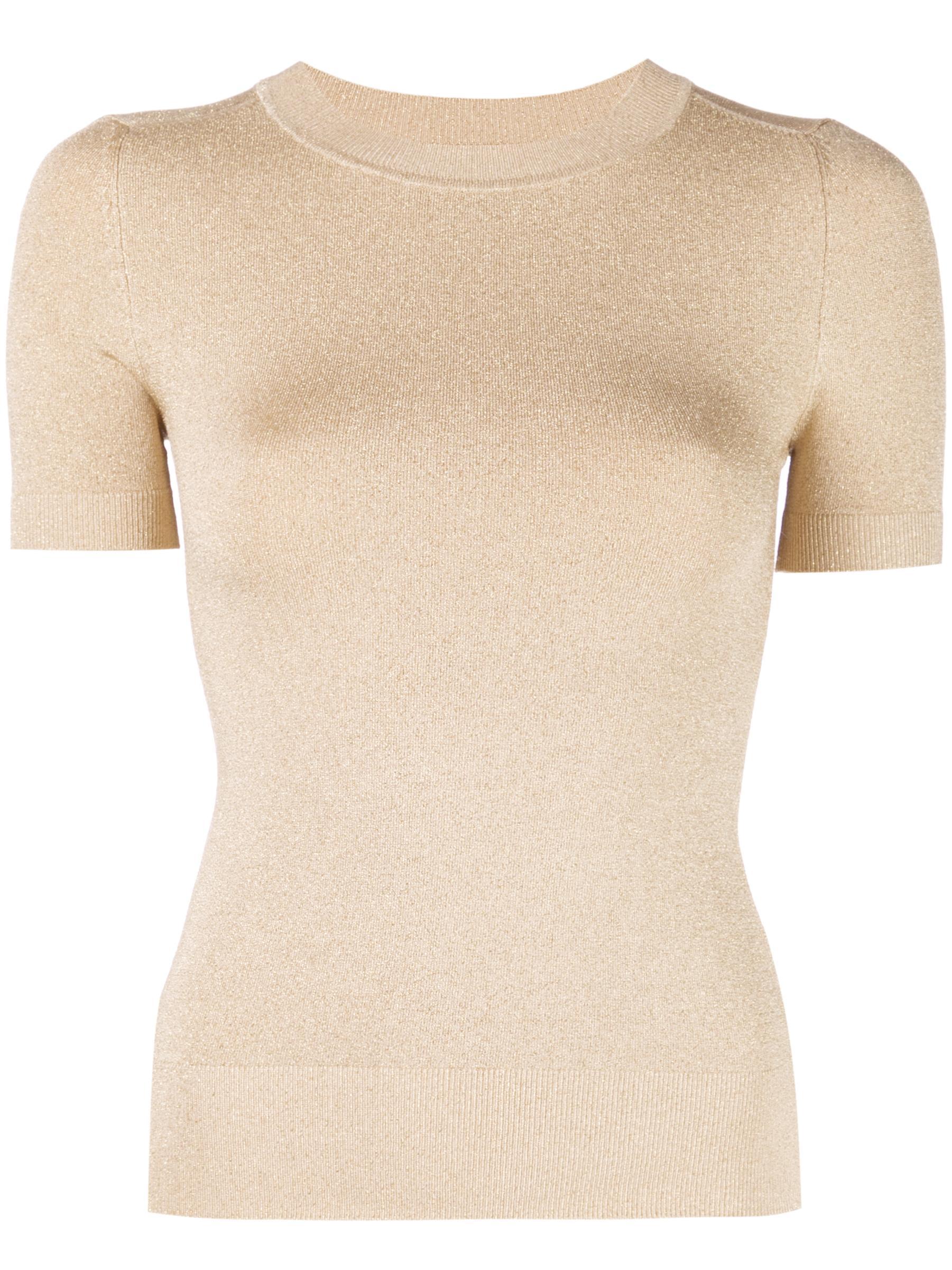 Shortsleeve Solid Lurex Crewneck Sweater