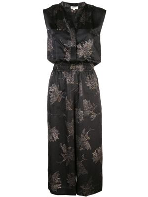 Woodblosk Floral Pleated Midi Dress