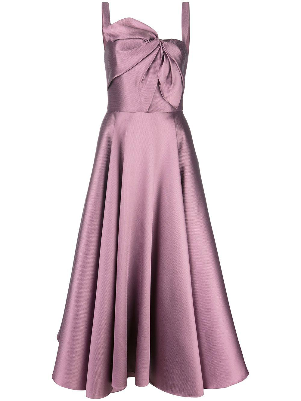 Sleeve Less Mikado Pique Tea Length Gown