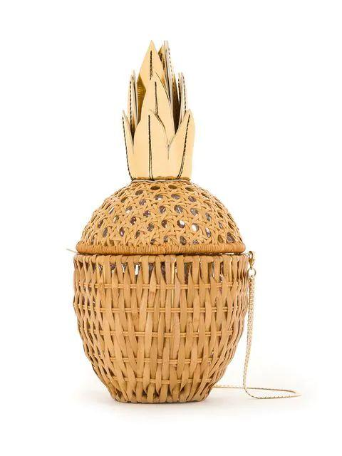Pineapple Wicker Clutch