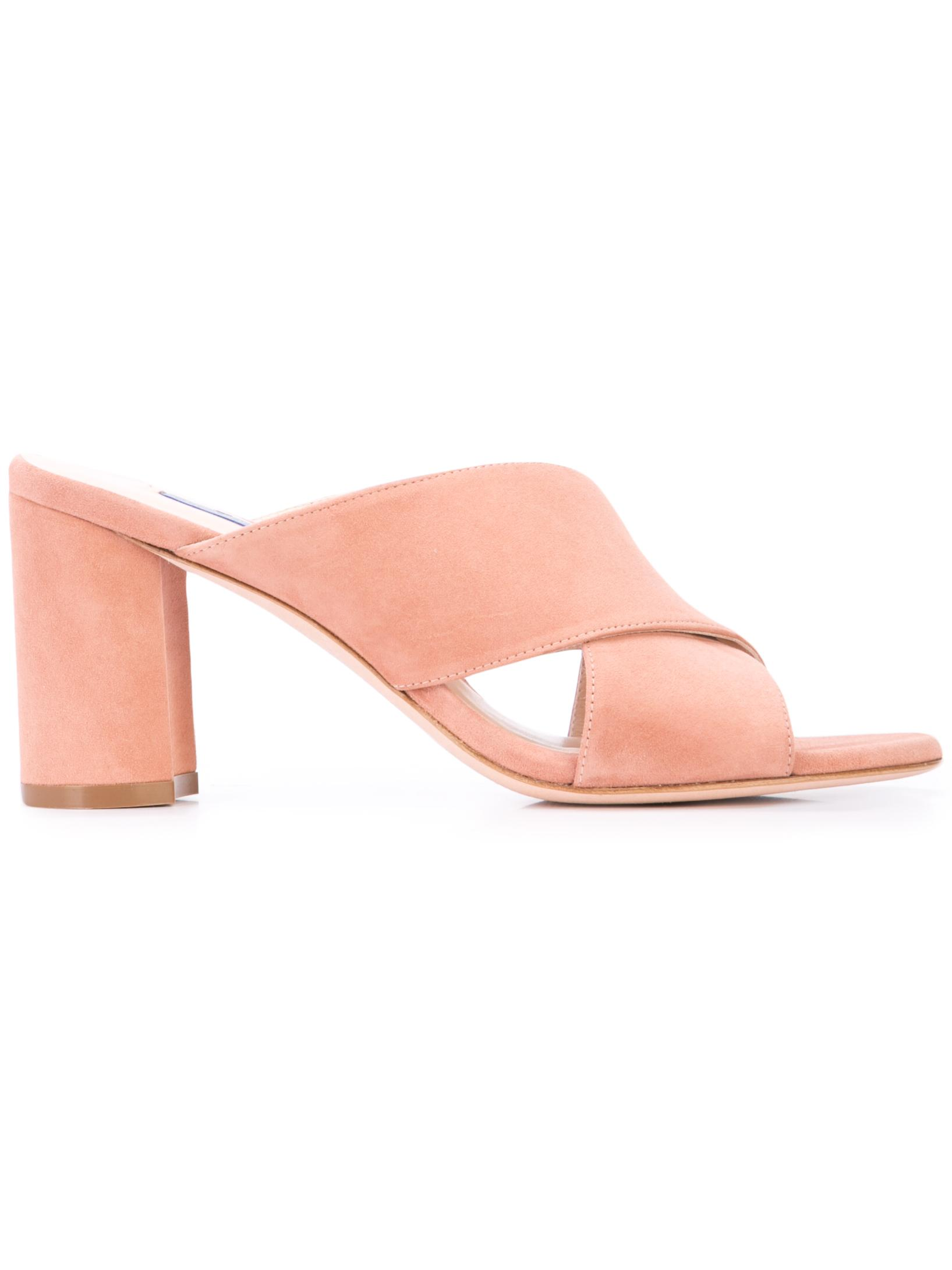 Suede Criss Cross Block Heel Mule