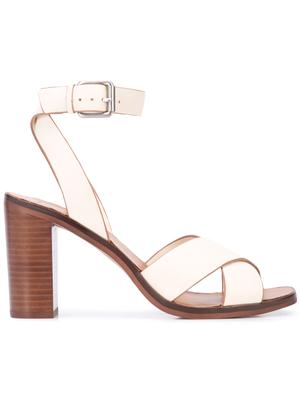 Criss Cross Block Heel Sandal With Ankle Strap