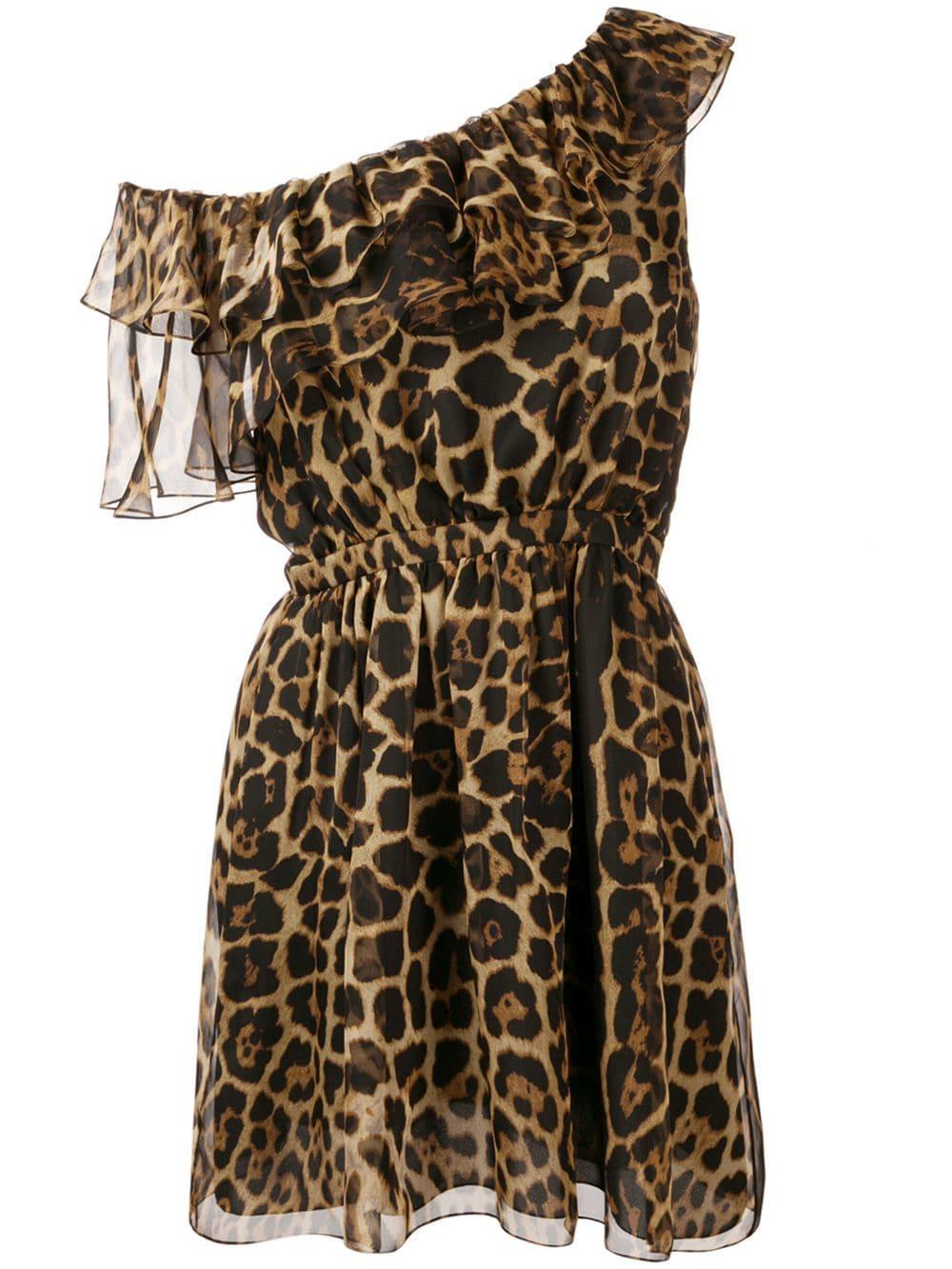 Drop Shoulder Leopard Print Short Dress