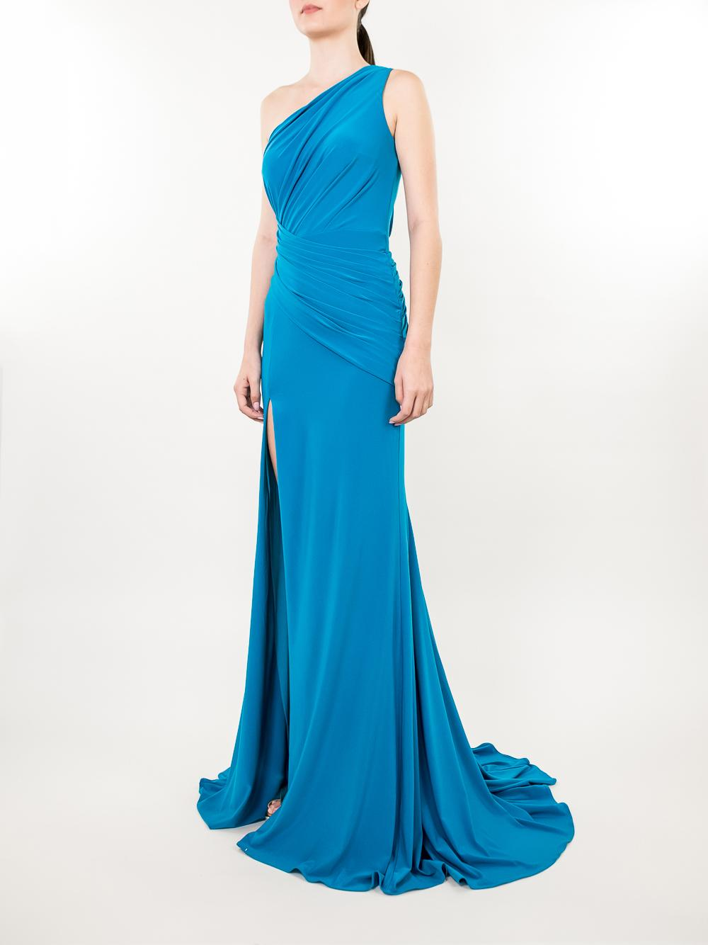 One Shoulder Rouched Gown Item # 68434