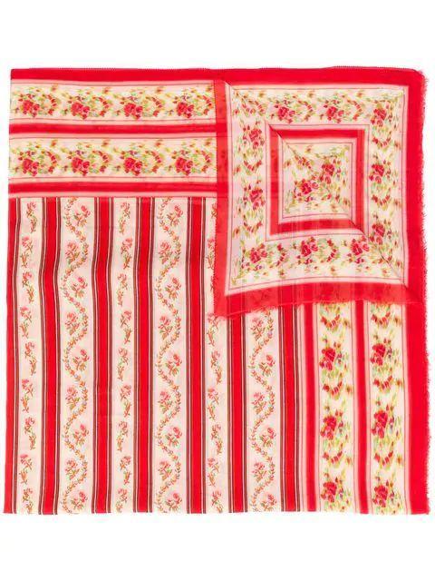Vintage Floral Stripe Scarf Item # E19-2122