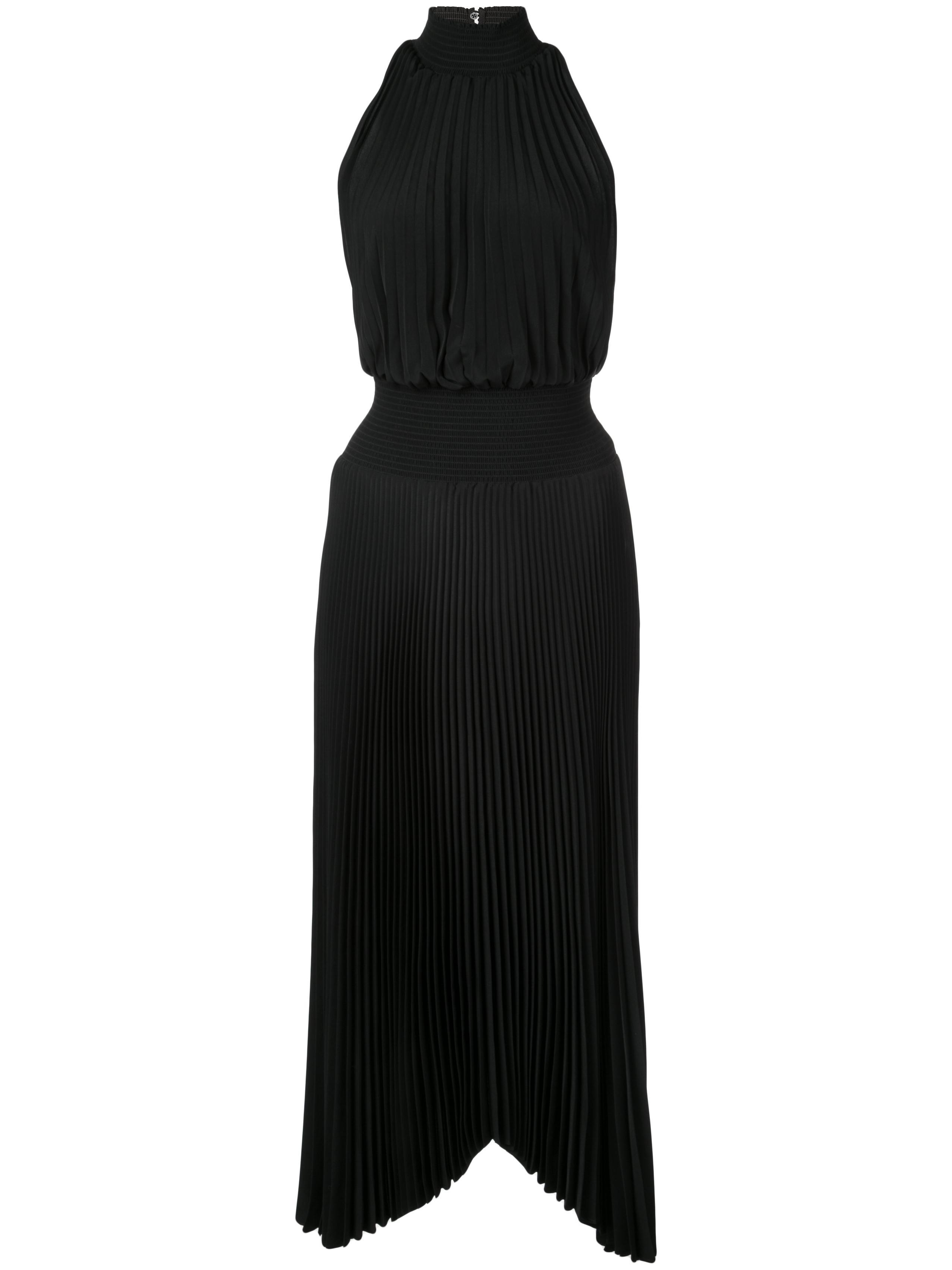 Renzo Vintage Satin Pleated Midi Dress Item # 6DRES00665