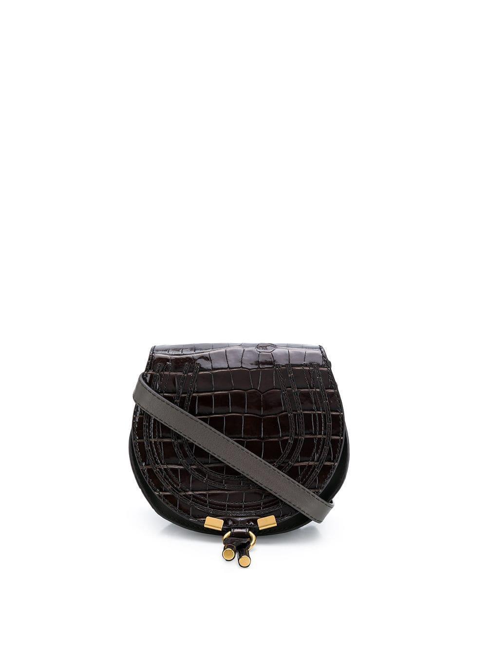MARCIE Small Croc Shoulder Bag