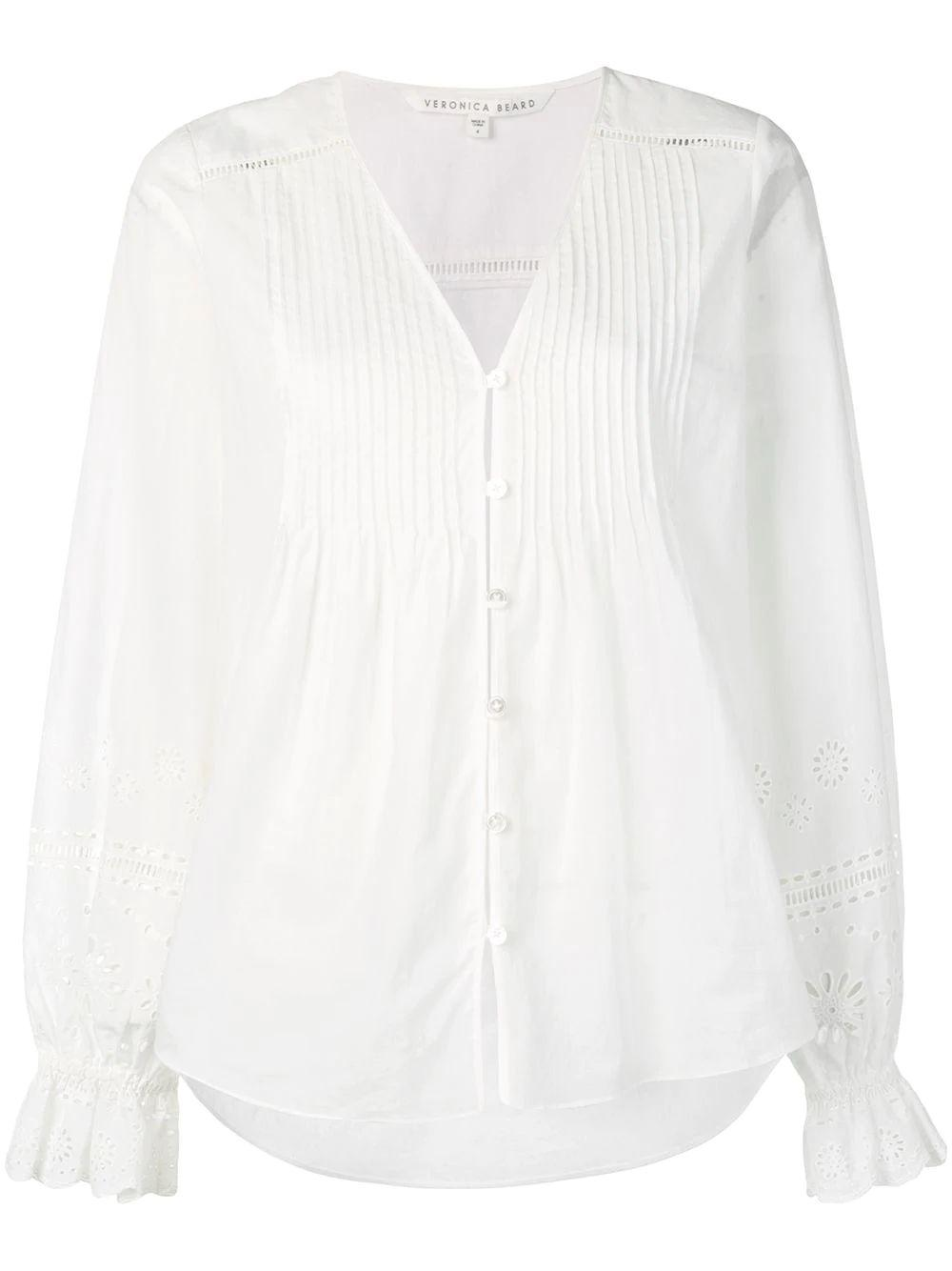 Siona Button Up Blouse w/Eyelet Slv Dtl