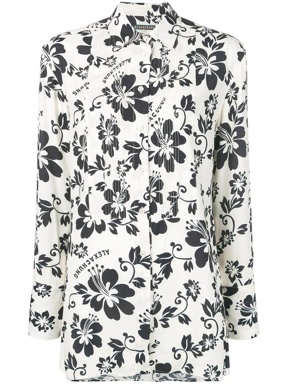 Oversize Pintuck Floral Detail Shirt
