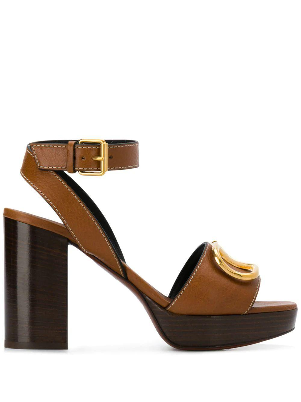Go Logo Block Heel 95mm Sandal w/Brass
