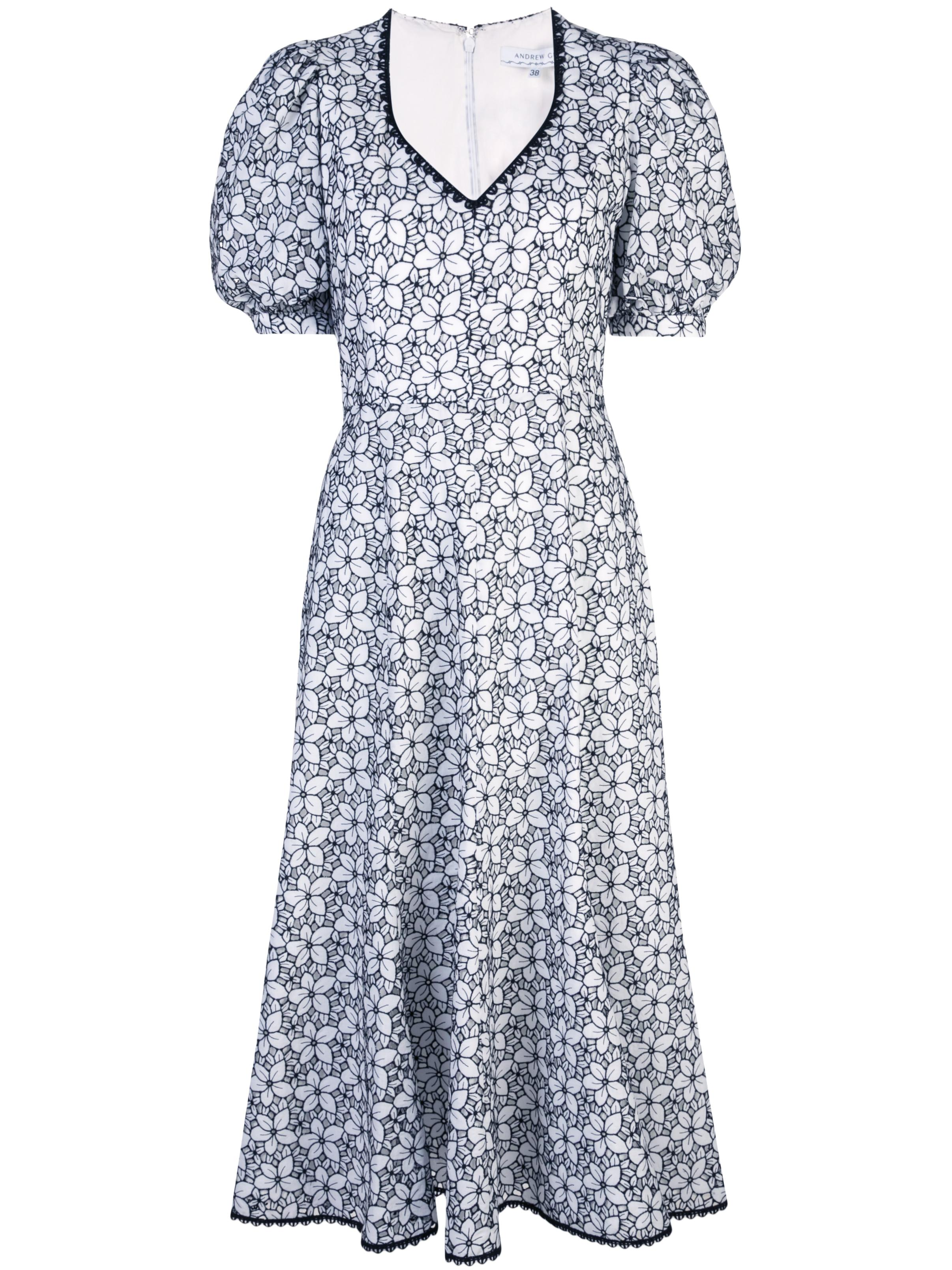 Short Puff Slv Floral V-Neck Woven Dress