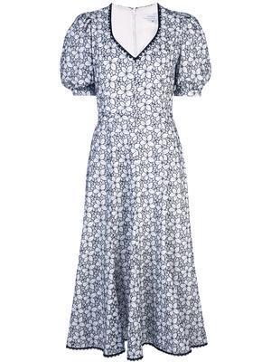 Short Puff Slv Floral V-Neck Woven Dress