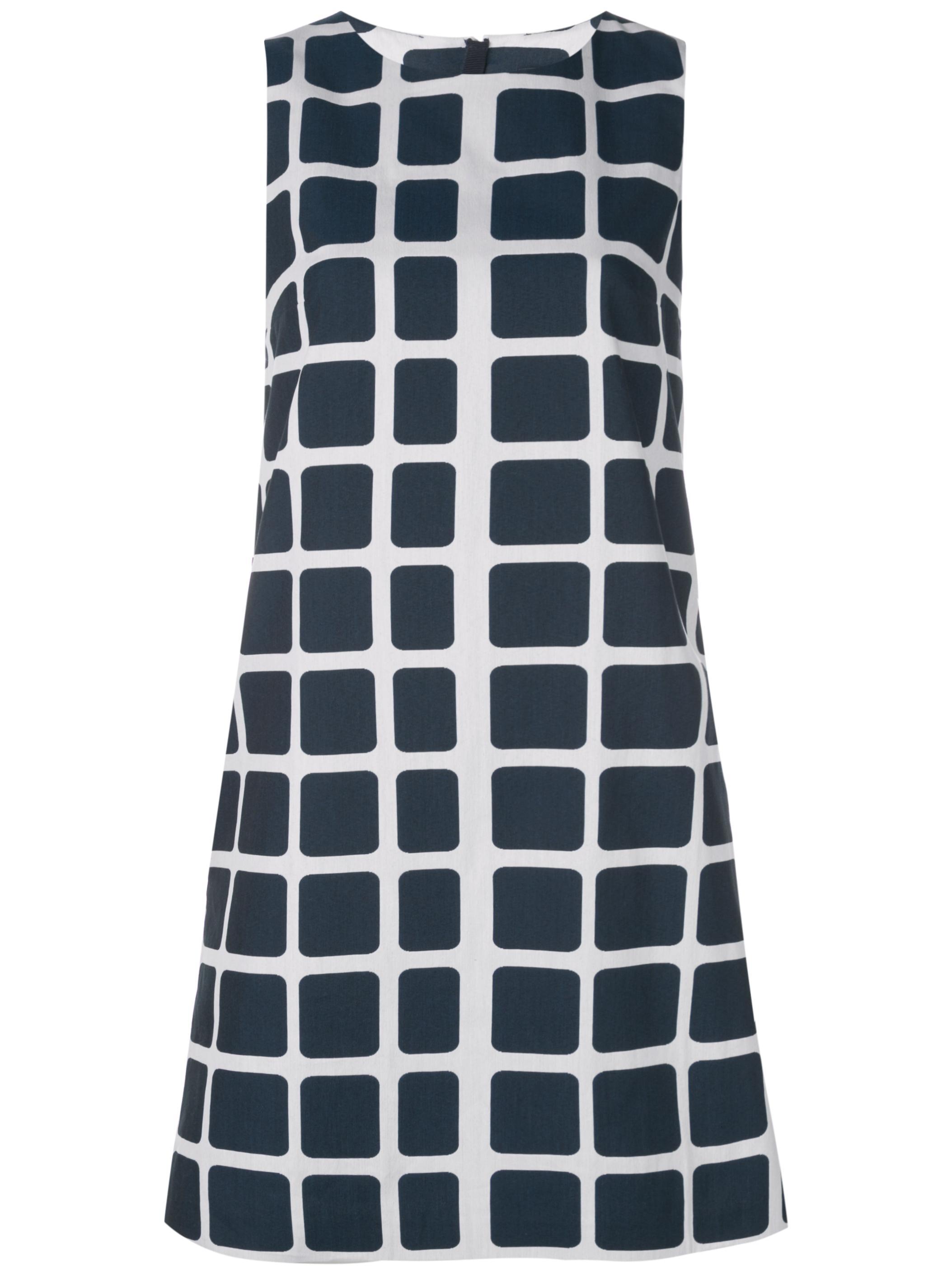S/Less Cotton Grid Print Shift Dress