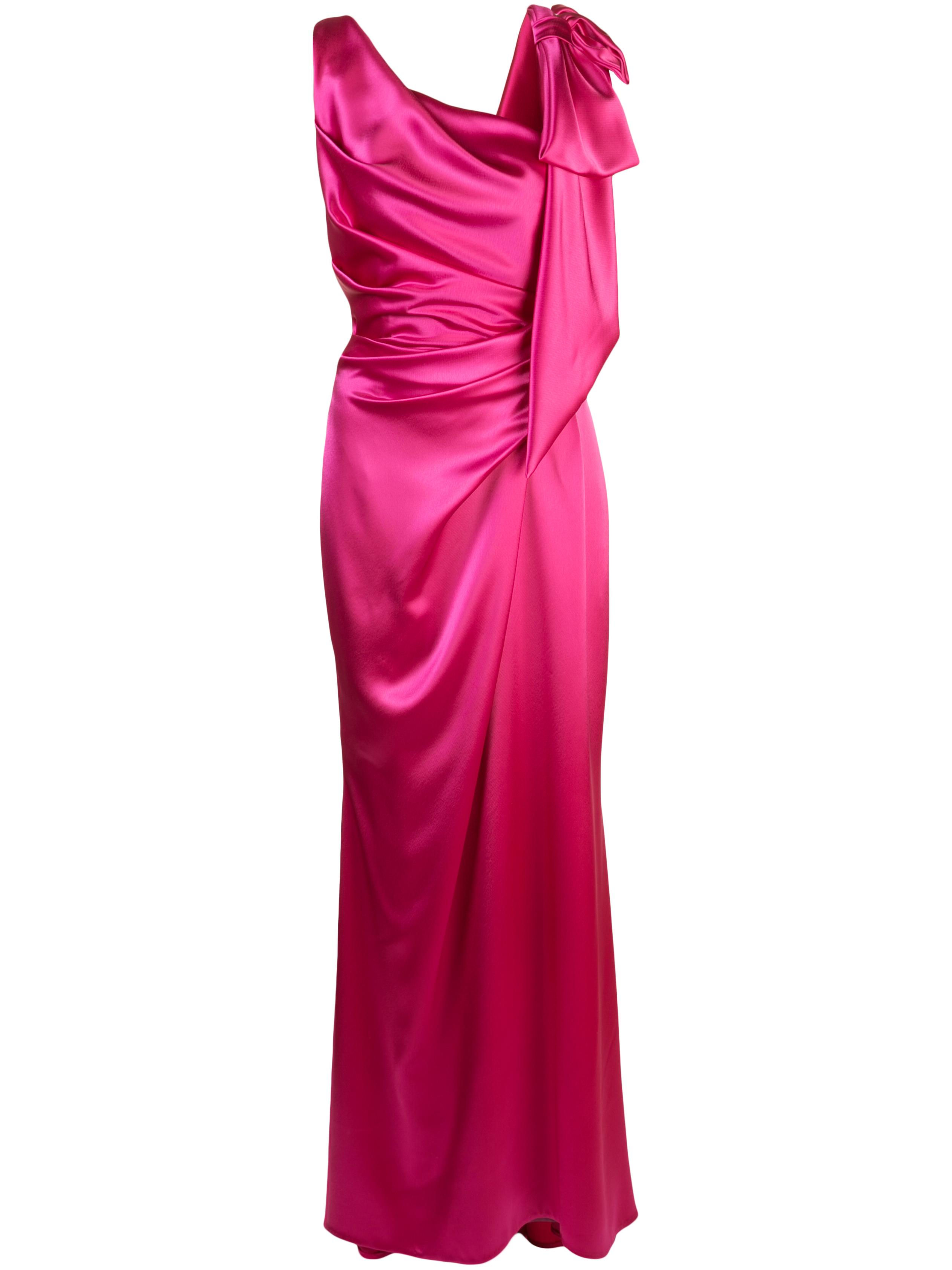 S/Less Shiny/Matte Crepe Gown W/Bow Item # SOL-1