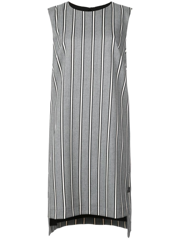 STRETCH WOVEN STRIPE SHIFT DRESS