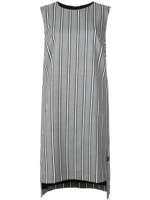 STRETCH WOVEN STRIPE SHIFT DRESS