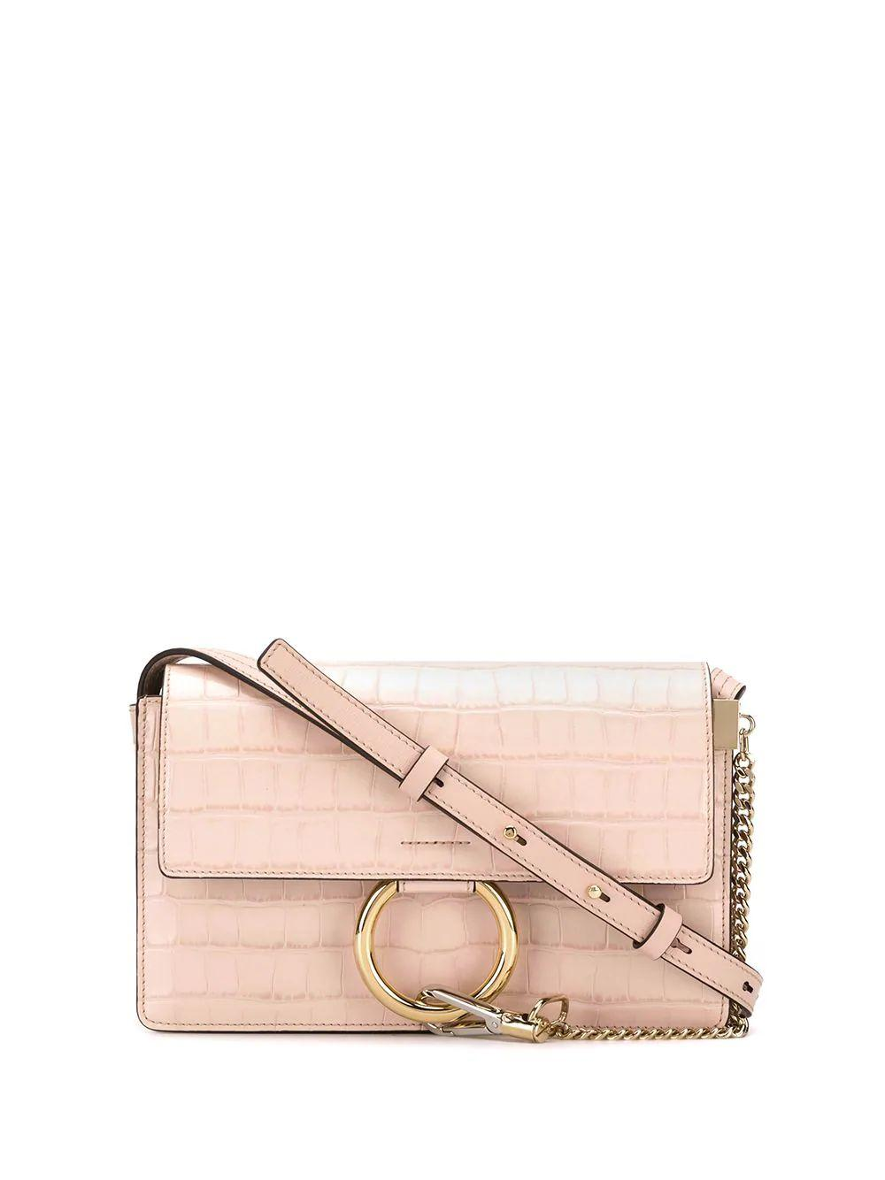FAYE Small Croco Emb Shoulder Bag