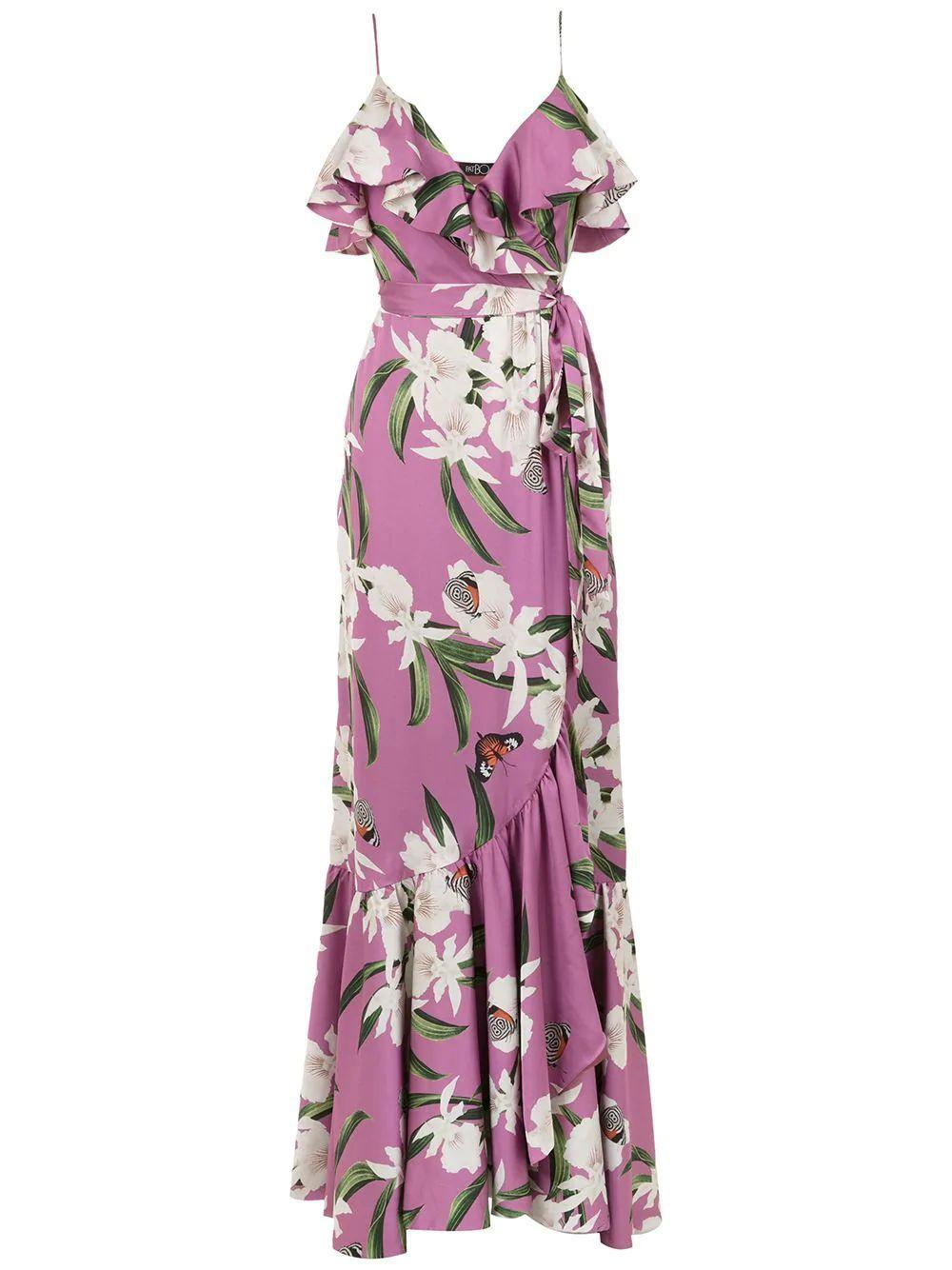 ORCHID PRINT MAXI WRAP DRESS