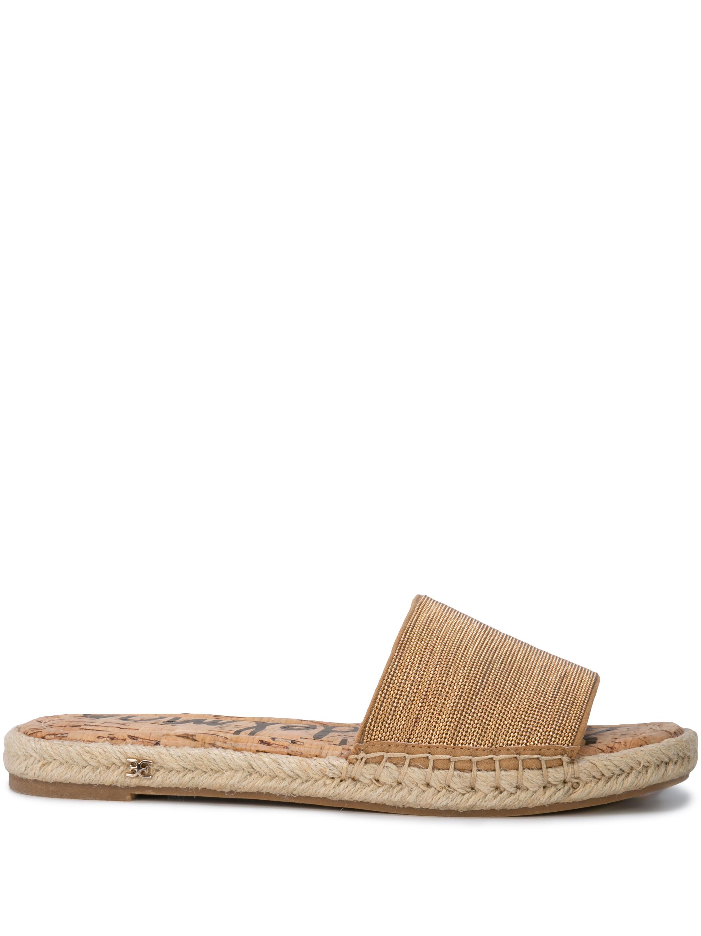 Suede/Metallic Flat Slide Sandal Item # ALUNA