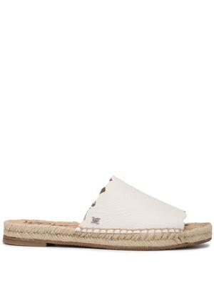 Scalloped Leather Flat Slide Sandal