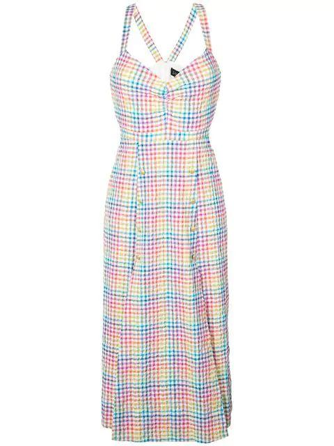 Anya Rainbow Check Sleeveless Midi Dress