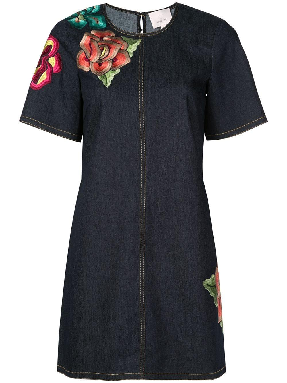 Denim Embroidered Ashton Dress