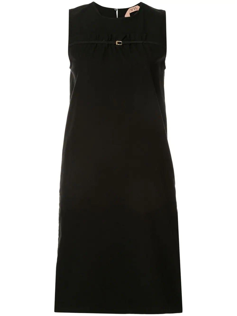 Sleeveless Shift Dress With Buckle Detail Item # H123-0637-9000