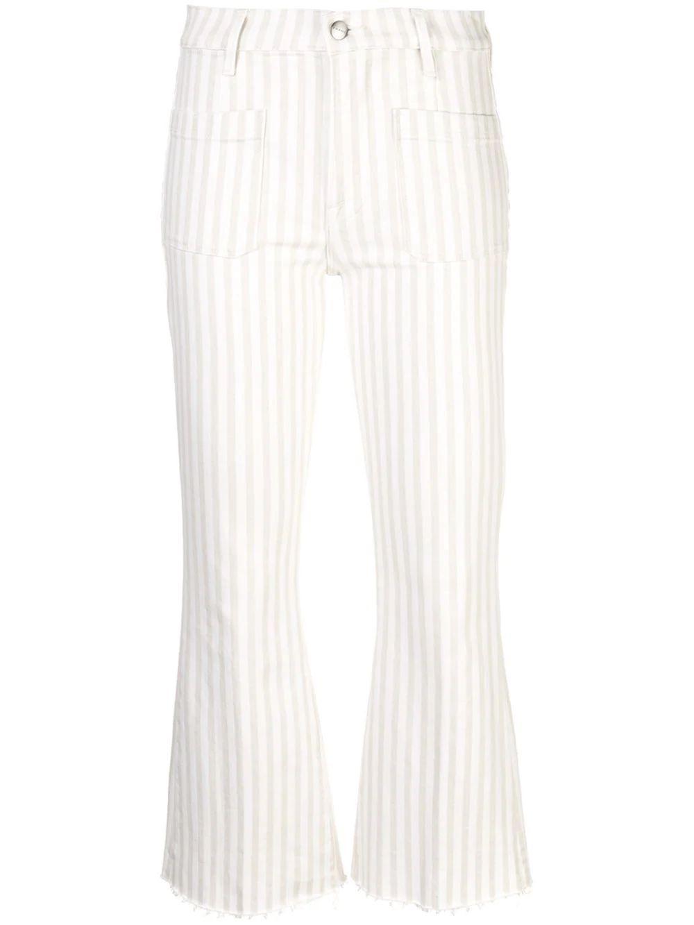 Le Bardot Stripe Patch Pocket Crop Flare Item # LBCFRA009S