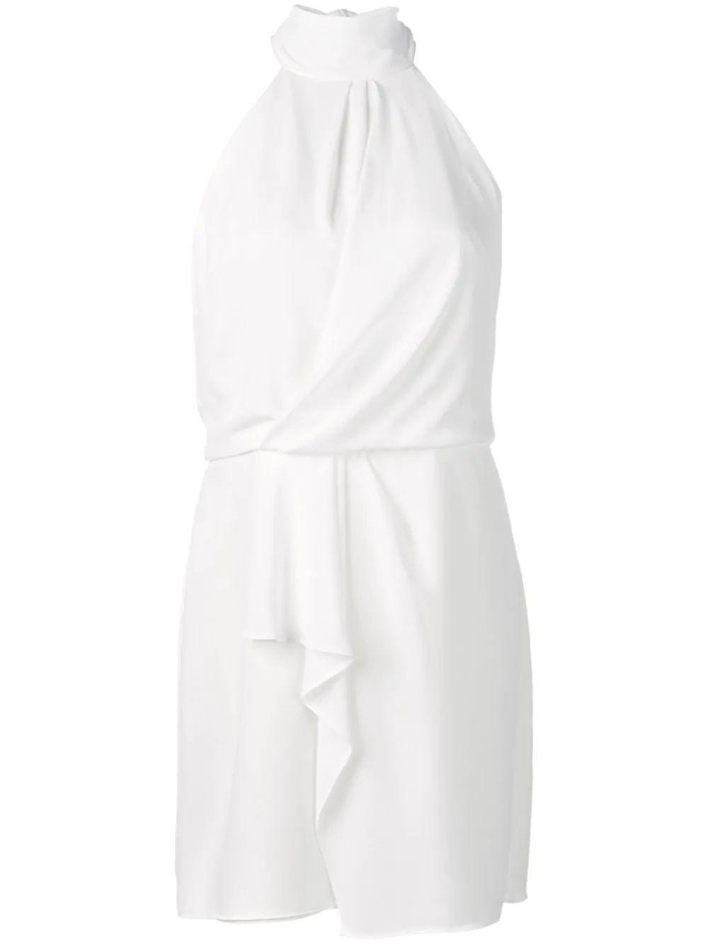 Sleeveless Mock Neck Dress With Drape Detail Item # SGE152838
