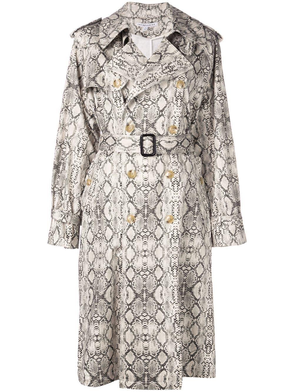 Snake Print Trench Coat With Belt