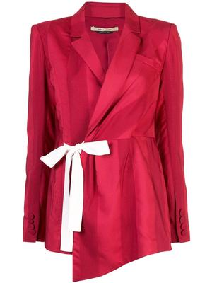 Long Sleeve Rib Jacquard Jacket With Side Tie