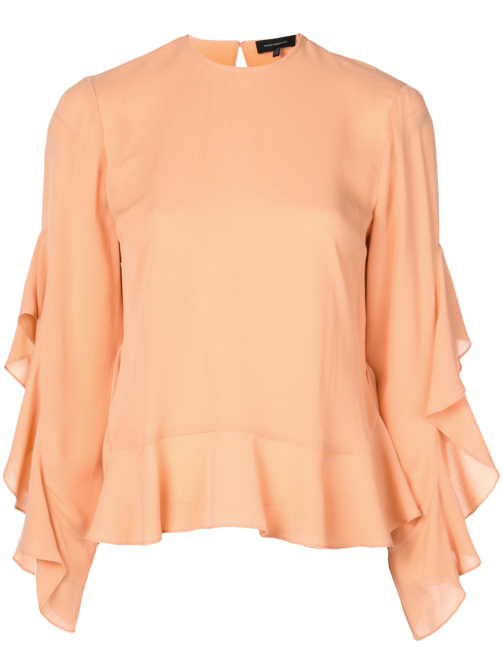 Basia Ruffle Trim Long- Sleeve Blouse Item # 1903T37