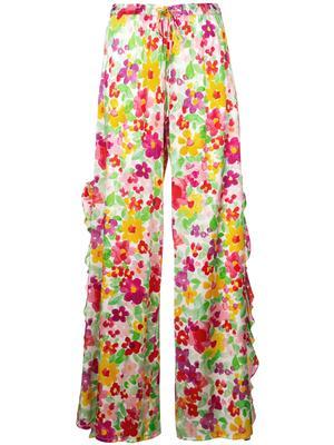 Floral Side Slit Ruffle Pant