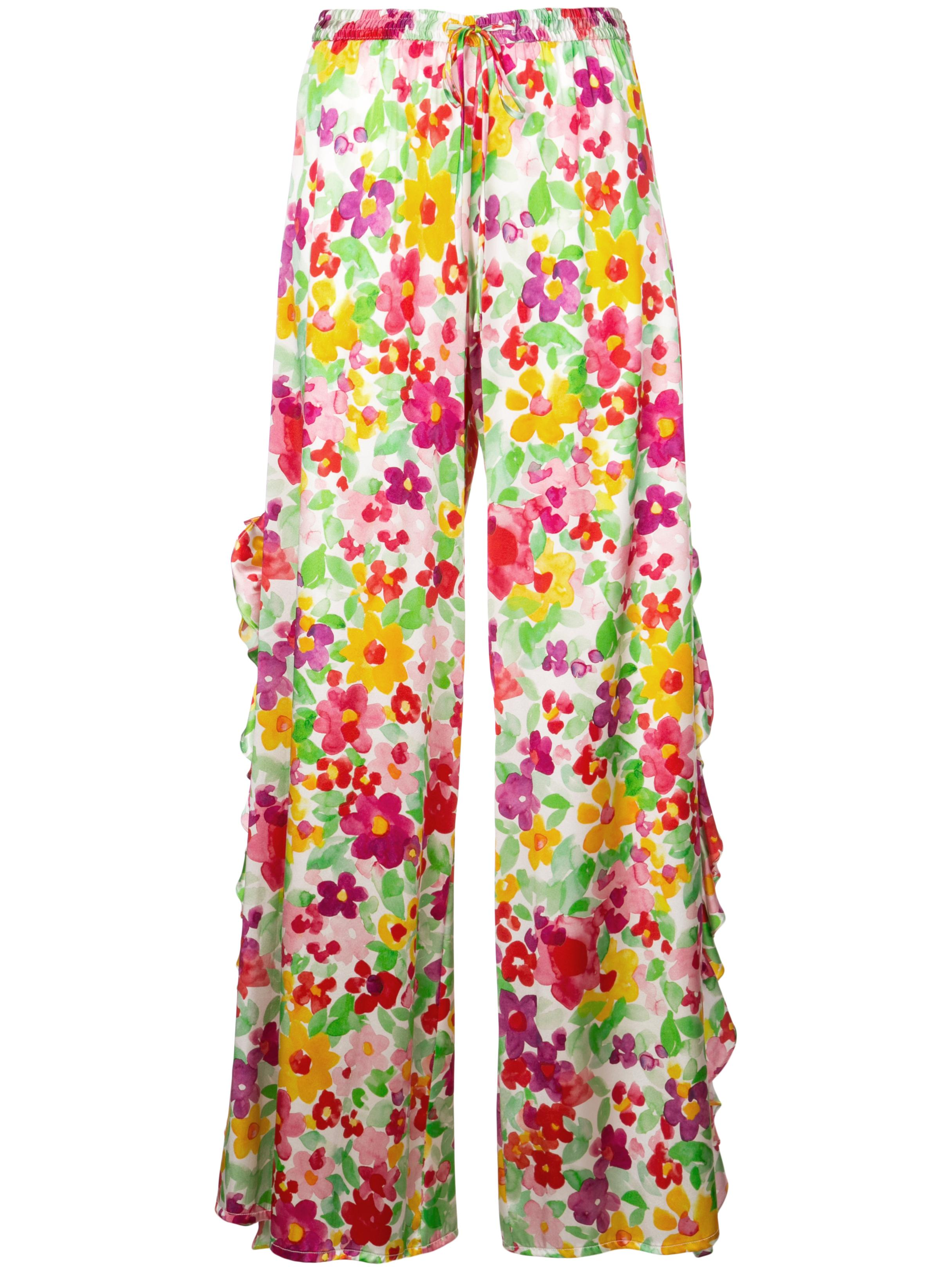 Floral Side Slit Ruffle Pant