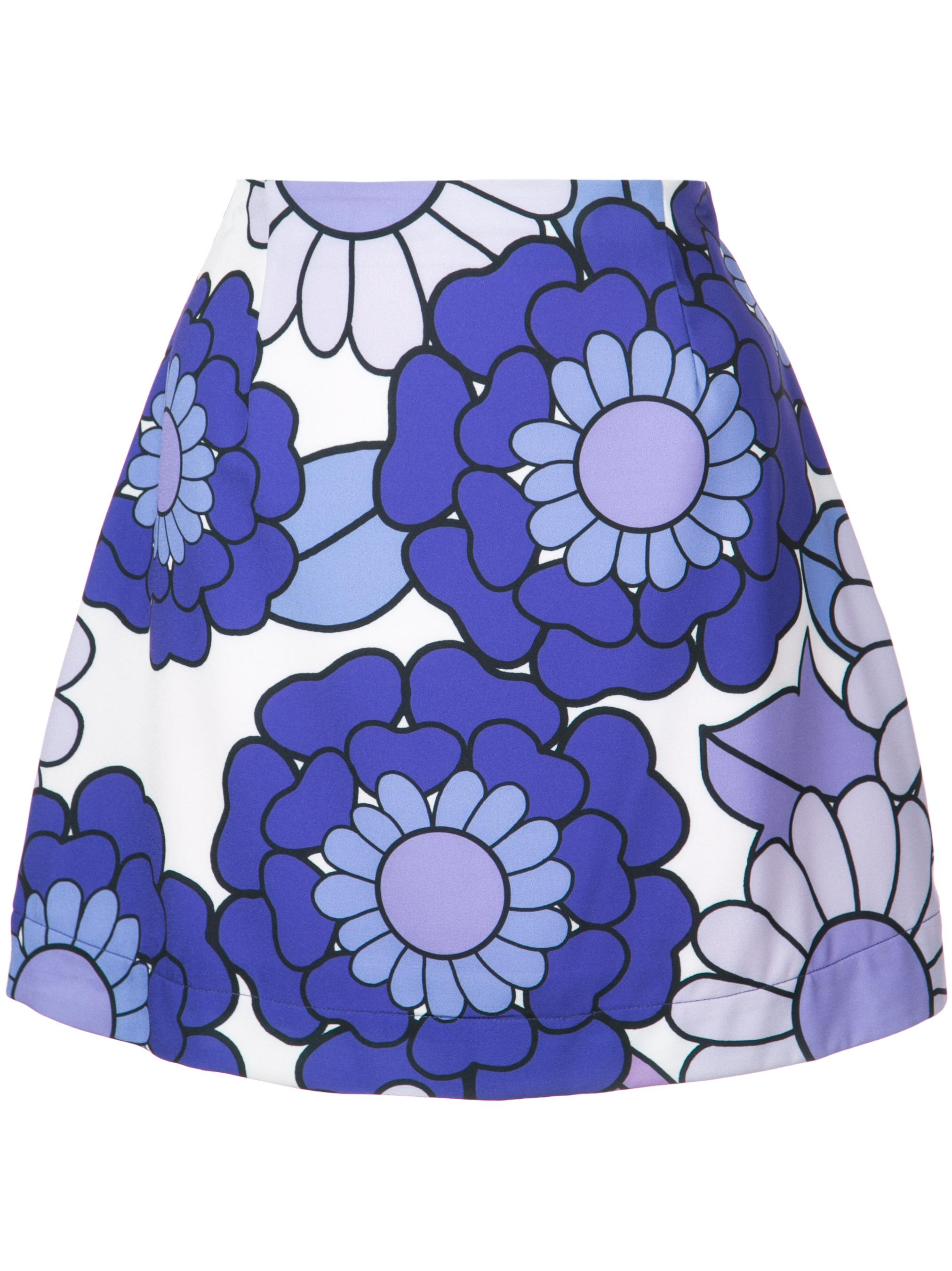 Leela 70`s Flower Print Mini Skirt