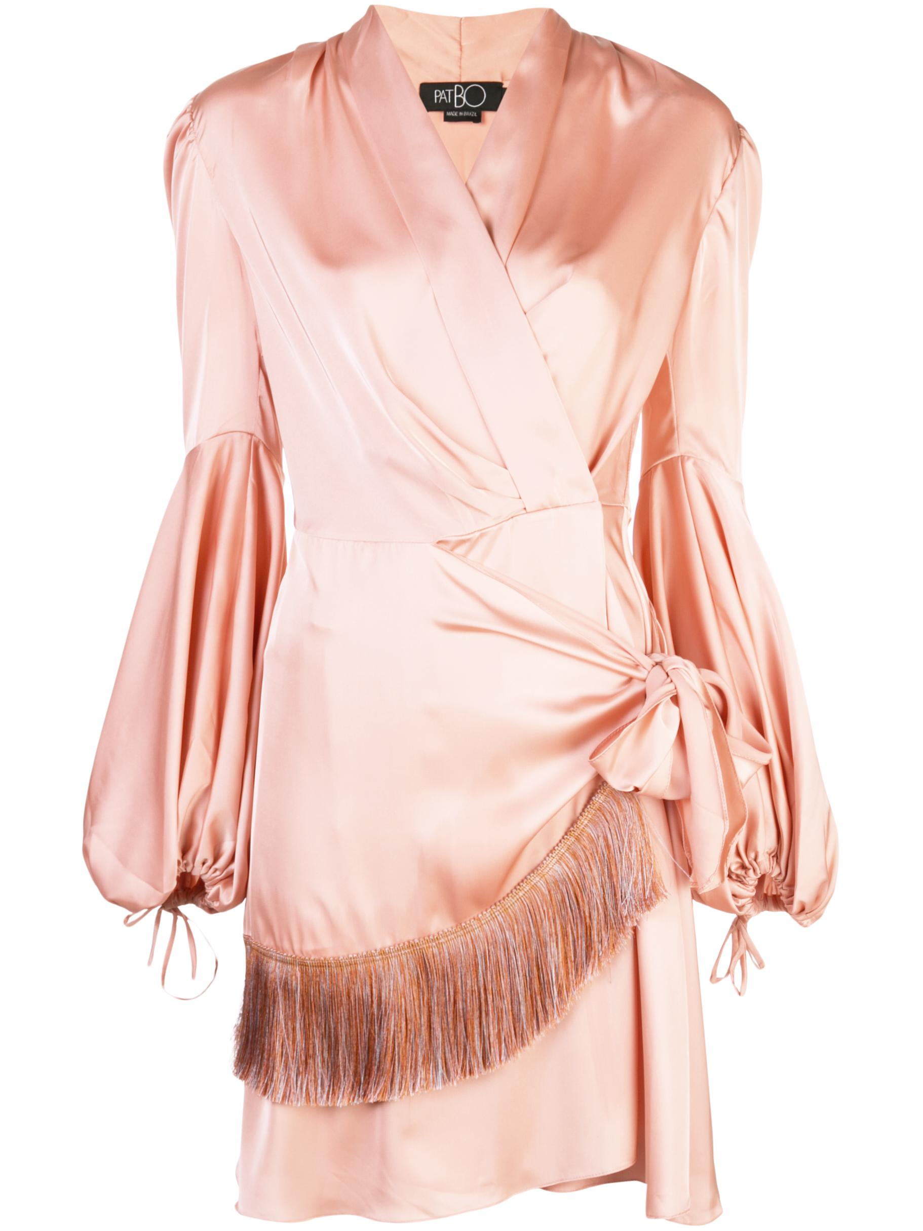 Fringe Trim Mini Wrap Dress Item # VES2022CUS