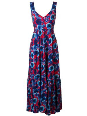 Sleeveless Floral Crepe Maxi Dress