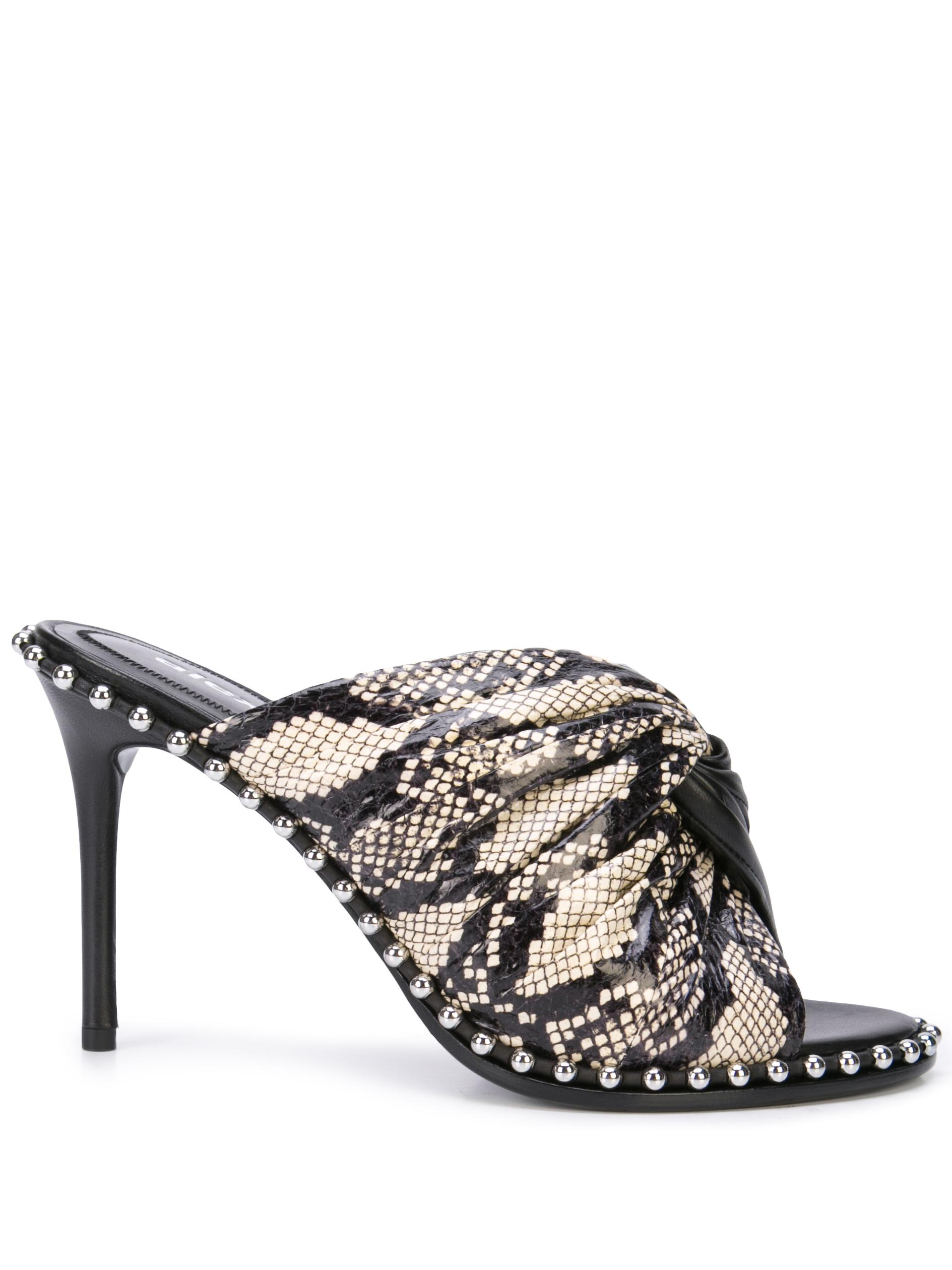 Nappa/Snake Embossed High Heel Mule