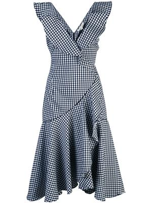 Seersucker Gingham Ruffle V-Neck Dress