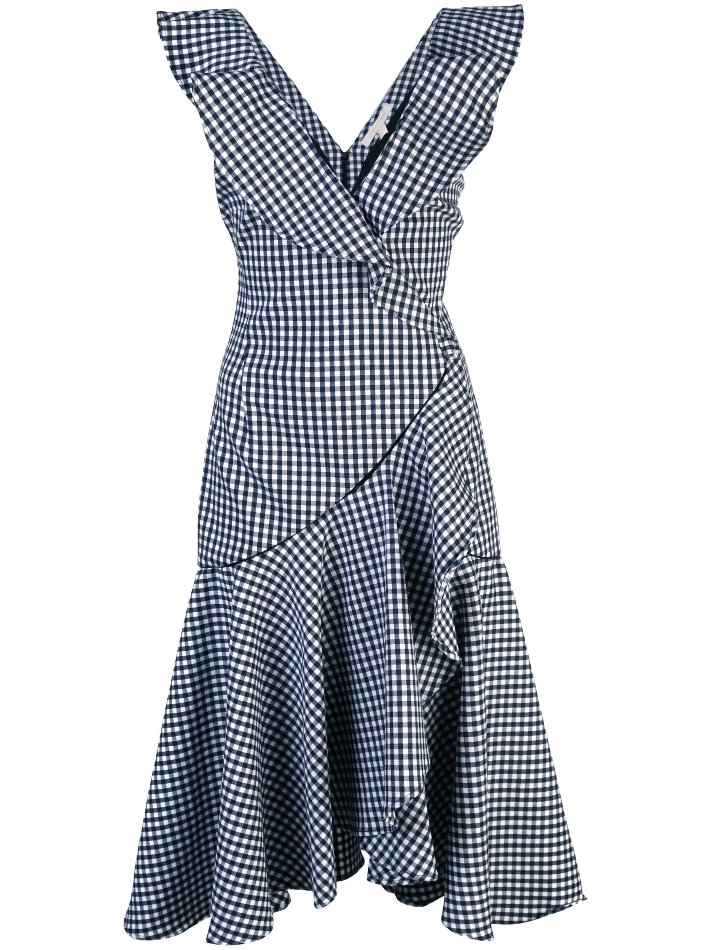 Seersucker Gingham Ruffle V-Neck Dress