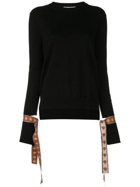 Long Sleeve Knit With Ribbon Detail Cuff Item # 19PN192CBK