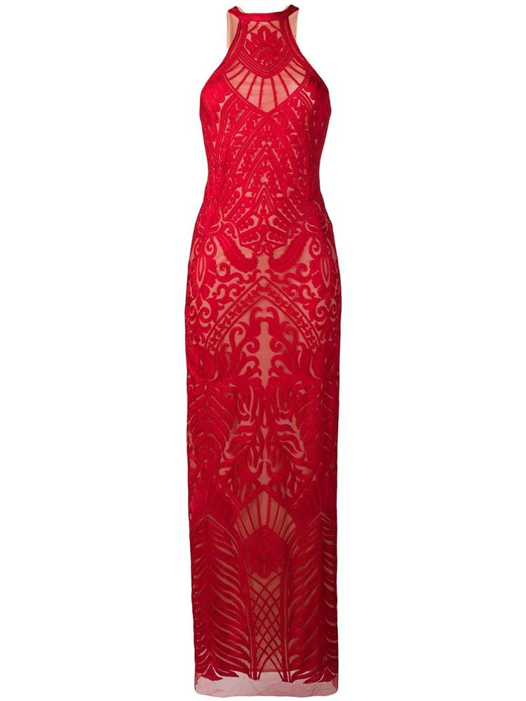 Atlas Embroidered Halter Neck Gown