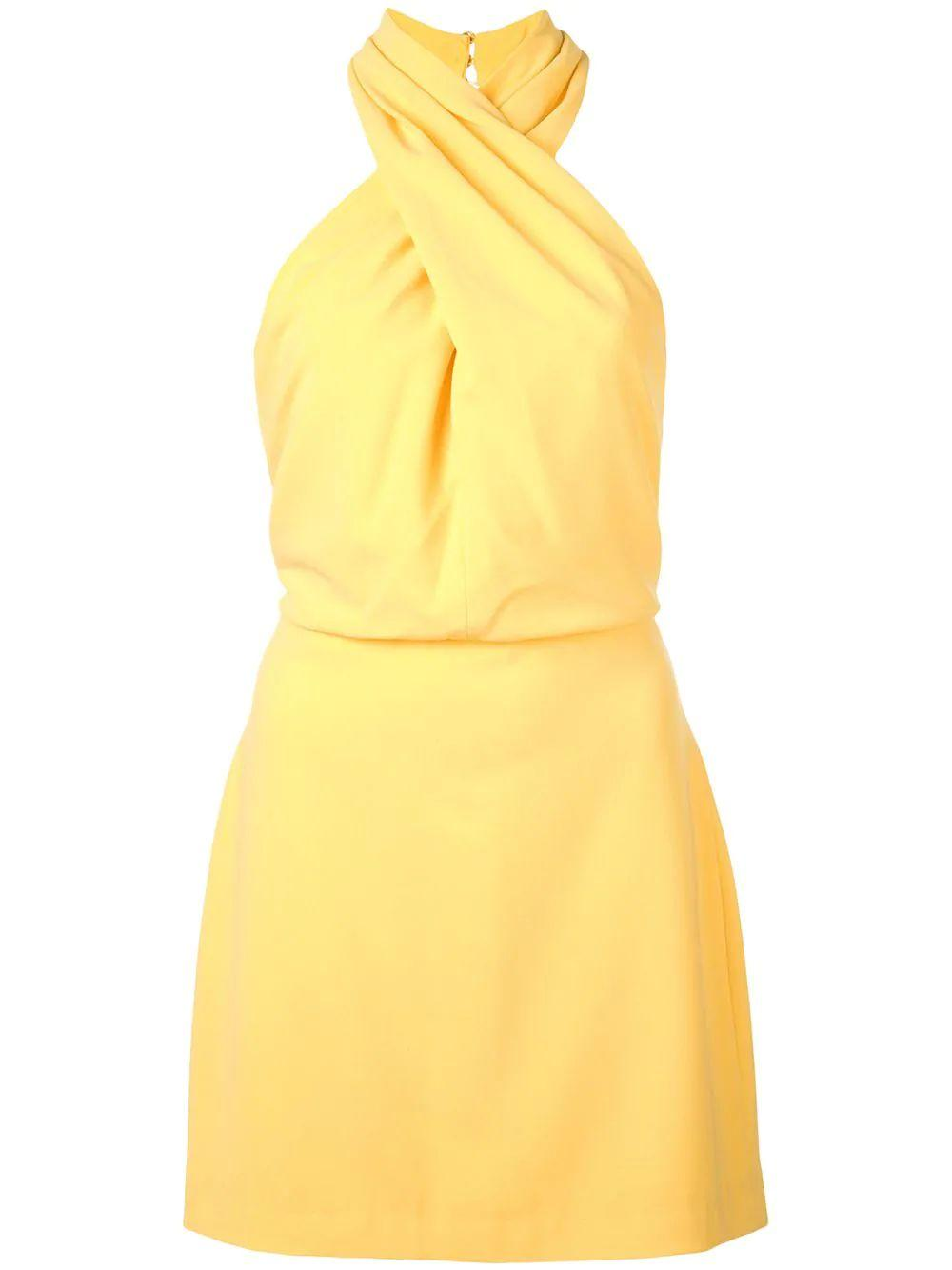 Sleeveless Wrap Neck Fitted Dress