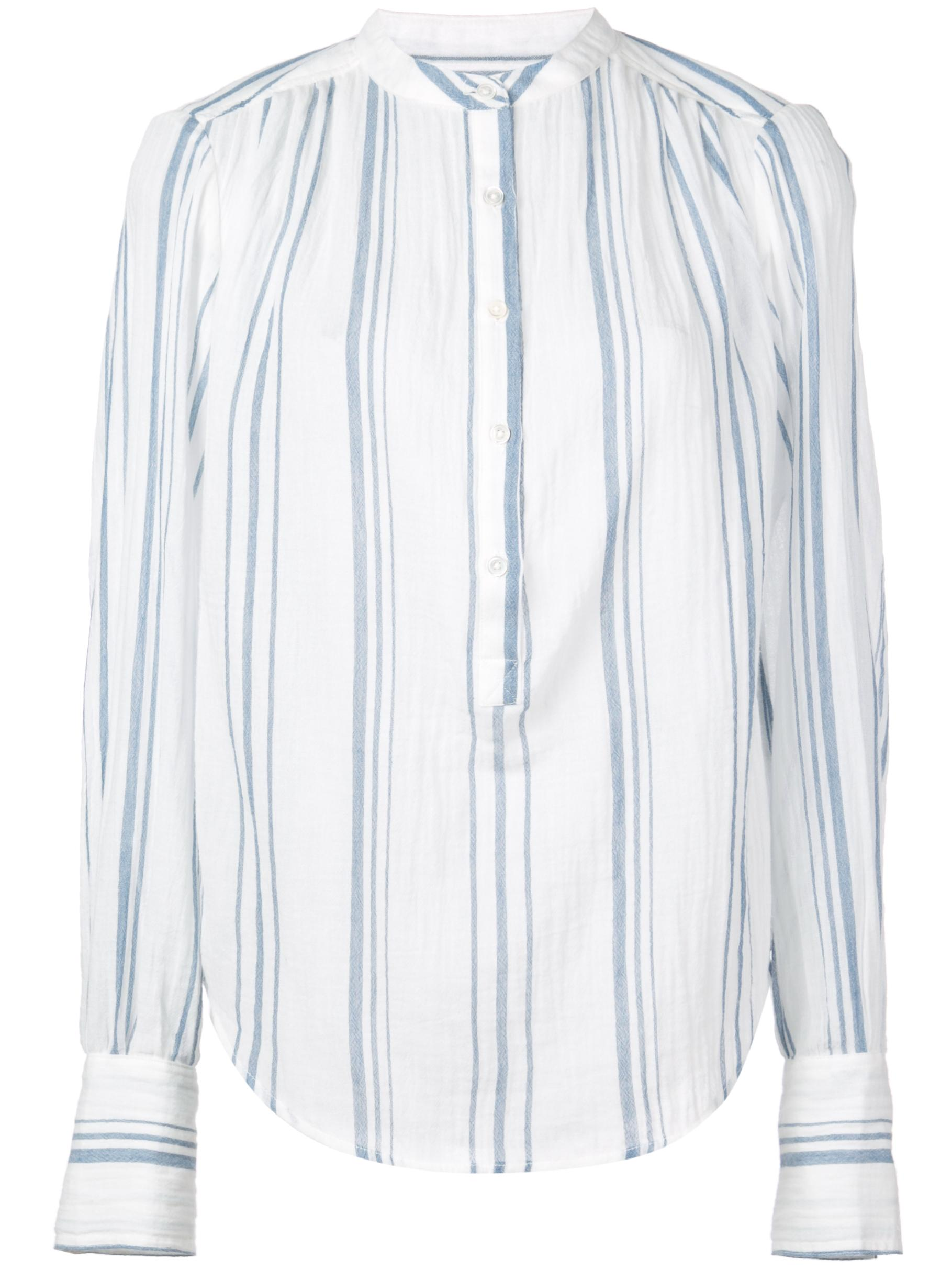 Long Sleeve Stripe Button Up Gauze Top
