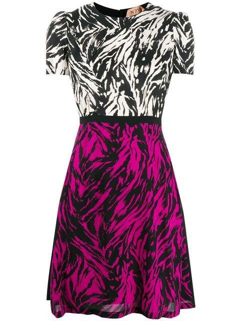 Short Sleeves Print Color Block Dress