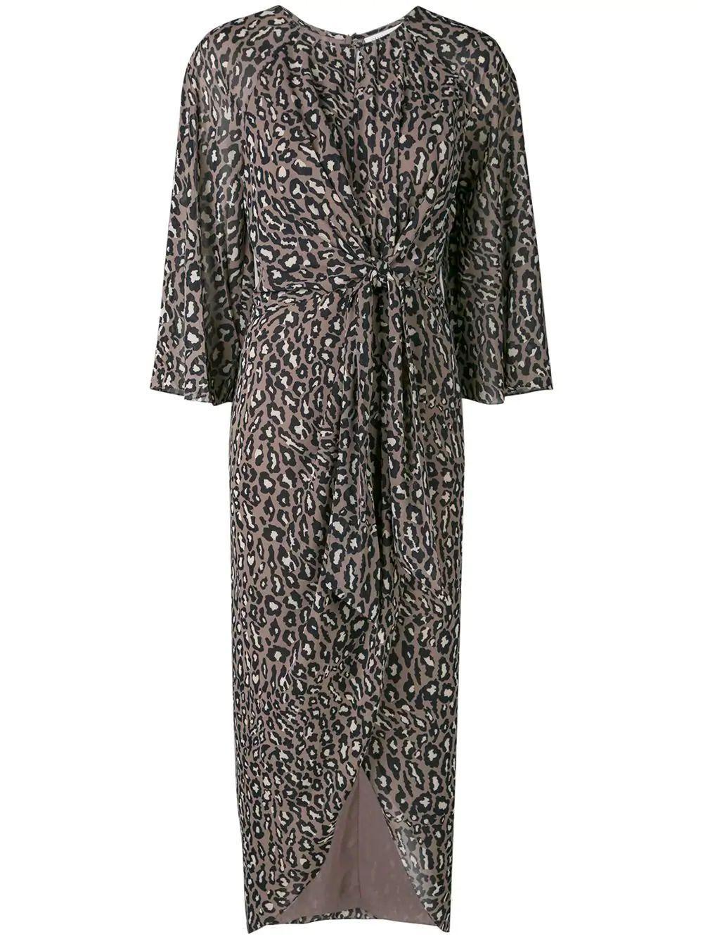 Buell Tie Front Draped Midi Dress